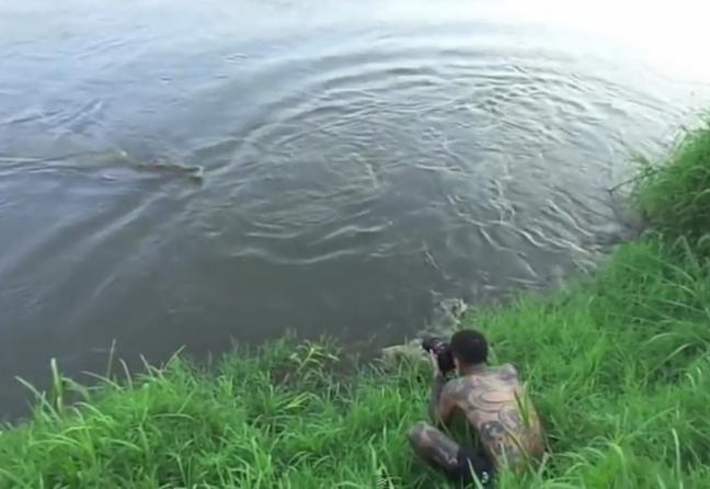 【動画】命知らずの写真家が巨大ワニに襲われる瞬間